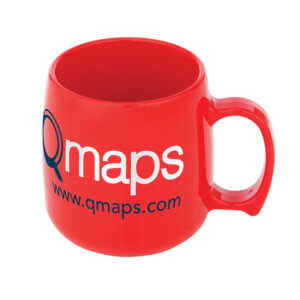Large Red plastic printed promotional mug