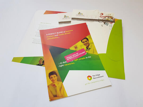 Printed business letter and folder for recruitment company: business stationery printing watford